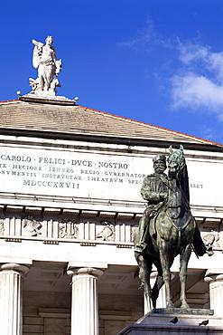 Teatro Carlo Felice and Garibaldi statue, Genoa, Liguria, Italy, Europe