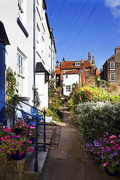 Pretty sidestreet in Robin Hoods Bay, Yorkshire, England, United Kingdom, Europe