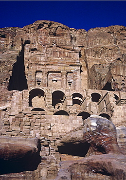 The Royal Urn Tomb carved out of the rock face in the ancient Nabataean city of Petra, UNESCO World Heritage Site, Jordan, Middle East