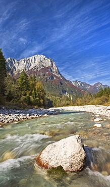 Autumn at the Soca River in the Julian Alps, Gorenjska, Slovenia, Europe