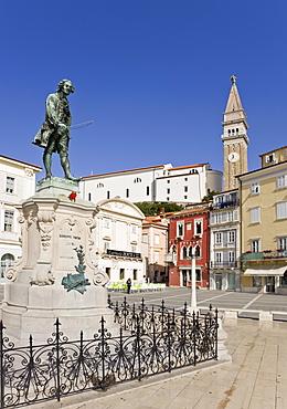 Bronze statue of the violinist and composer Tartini in Piran, Slovenia, Europe