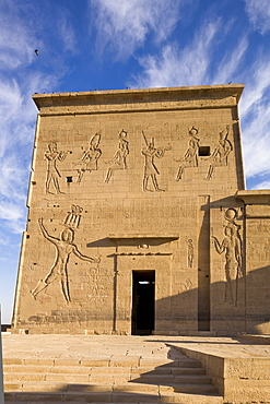 The first pylon at the Temple of Isis, Philae, UNESCO World Heritage Site, Nubia, Egypt, North Africa, Africa
