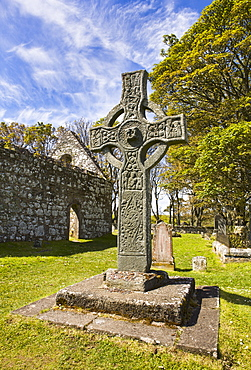 Kildalton Church and its magnicent high cross on the Isle of Islay, Inner Hebrides, Scotland, United Kingdom, Europe