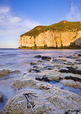 Smooth polished rocks on the shore at Thornwick Bay, looking towards the golden cliffs of Flamborough, Yorkshire, England, United Kingdom, Europe