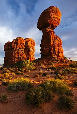 Balanced Rock at dusk, Arches National Park, Utah, United States of America, North America