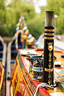 Detail of canal boat, Canal Cavalcade, Little Venice, London, England, United Kingdom, Europe