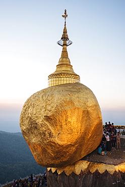 Mount Kyaiktiyo (Golden Rock) at sunset, Mon State, Myanmar (Burma), Asia