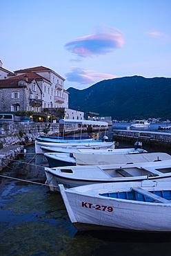 Perast at twilight, Bay of Kotor, Montenegro, Europe