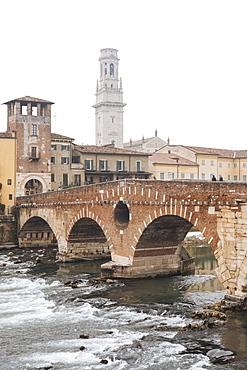 Ponte Pietra and Old Town of Verona, Veneto Province, Italy, Europe