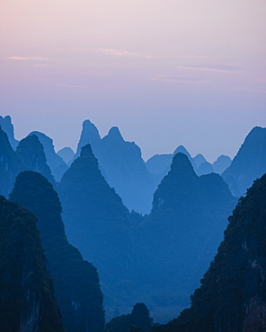 Sunset over Karst Hills from Lao Zhai, Xingping, Guilin, Guangxi Province, China, Asia