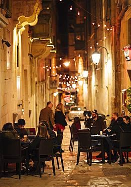 Strait Street, former red light district, at night, Valletta, Malta, Europe