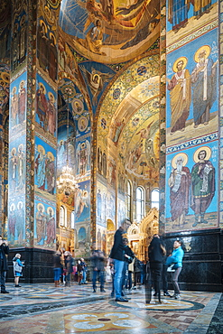 Interior of Church of the Savior on Spilled Blood (Church of the Resurrection), UNESCO World Heritage Site, St. Petersburg, Leningrad Oblast, Russia, Europe