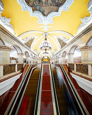 Interior of Komsomoloskaya Metro Station, Moscow, Moscow Oblast, Russia
