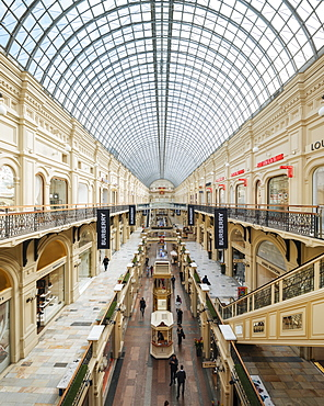 Interior of GUM Shopping Center, Moscow, Moscow Oblast, Russia, Europe