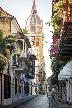 Colonial architecture in the Old City, UNESCO World Heritage Site, Cartagena, Bolivar Department, Colombia, South America