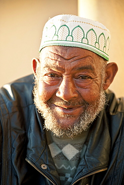 Portraits of men outside Hassan II Mosque, Casablanca, Morocco, North Africa, Africa