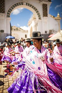 Dancers in traditional dress, Fiesta de la Virgen de la Candelaria, Copacabana, Lake Titicaca, Bolivia, South America