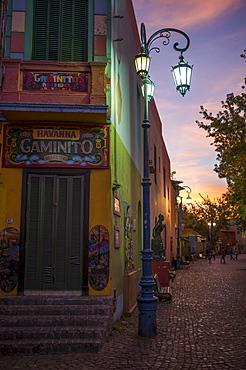 El Caminito at dusk, La Boca, Buenos Aires, Argentina, South America