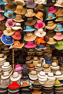 Hat stall, Pisac Textiles Market, Sacred Valley, Peru, South America