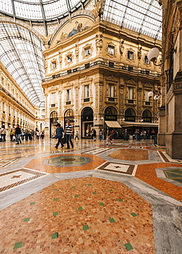 Interior of Galleria Vittorio Emanuele Shopping Mall, Milan, Lombardy, Italy, Europe