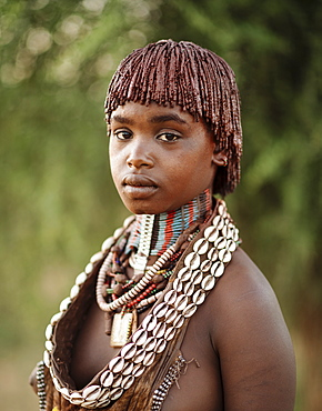 Portrait of Warka, Hamar Tribe, Omo Valley, Ethiopia, Africa