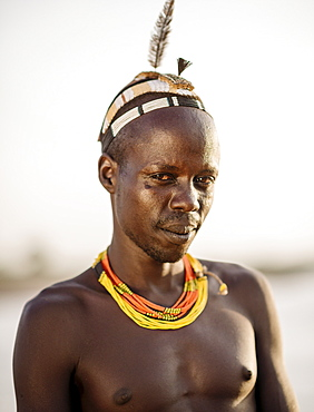 Portrait of Tuta by the Omo River, Dassanech Tribe, Rate Village, Omorate, Omo Valley, Ethiopia, Africa