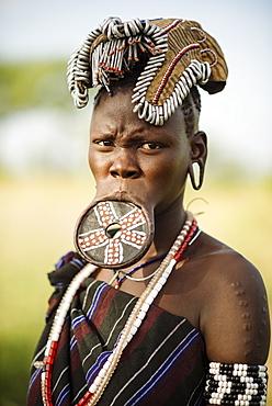 Portrait of Ateri, Mursi Tribe, Chamolo Village, Omo Valley, Ethiopia, Africa