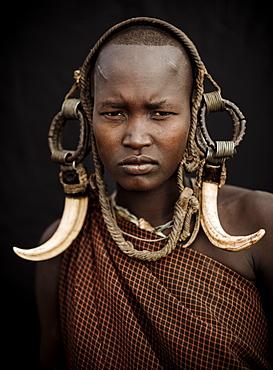 Portrait of Ntorol, Mursi Tribe, Chamolo Village, Omo Valley, Ethiopia, Africa