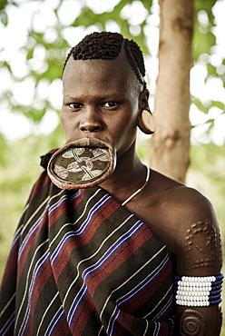 Portrait of Ana, Mursi Tribe, Marege Village, Omo Valley, Ethiopia, Africa