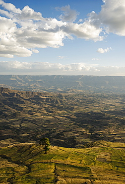 View of landscape from Ashen Maria Monastery at dusk, Lalibela, Ethiopia, East Africa, Africa