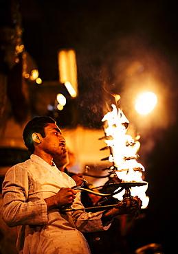 Puja Ceremony, Ghat, Mathura, Uttar Pradesh, India, Asia