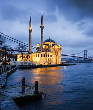 Exterior of Ortakoy Mosque and Bosphorus bridge at night, Ortakoy, Istanbul, Turkey, Europe