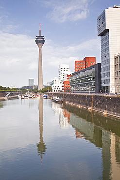 The old docks in the city of Dusseldorf, North Rhine-Westphalia, Germany, Europe