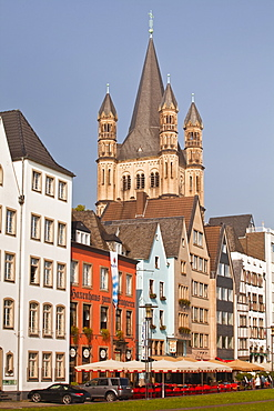 The tower of The Great Saint Martin church and the old town of Cologne, North Rhine-Westphalia, Germany, Europe
