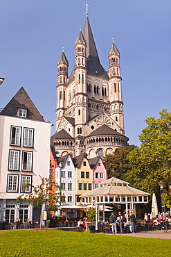 The tower of The Great Saint Martin church and the old town of Cologne.