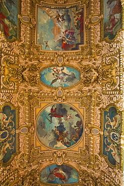 A decorated ceiling inside the Hotel de Ville (Town Hall) of Tours, Indre et Loire, Centre, France, Europe