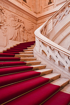 The staircase inside the Hotel de Ville (Town Hall) of Tours, Indre et Loire, Centre, France, Europe