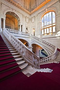 The staircase inside the Hotel de Ville (Town Hall)l of Tours, Indre et Loire, Centre, France, Europe