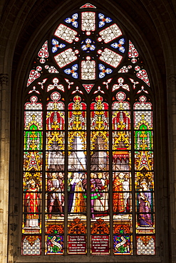 Stained glass window inside Cathedral of Saint Michael and Saint Gudula, Brussels, Belgium, Europe