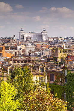 The rooftops of Rome with Il Vittoriano, the monument to Italy's first king, Vittorio Emanuelein the background, Rome, Lazio, Italy, Europe