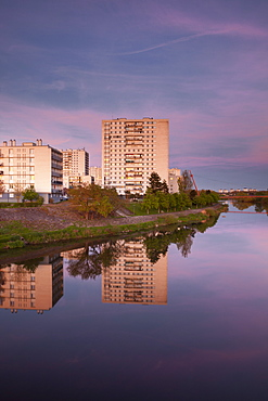 Looking across the River Cher towards the suburbs of Tours, Indre et Loire, France, Europe