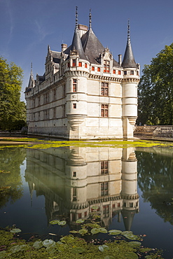 One of the earliest Renaissance chateaux standing today, the castle at Azay-le-Rideau, UNESCO World Heritage Site, built during the 16th century, Indre et Loire, France, Europe