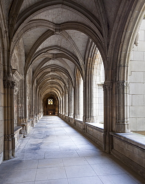 Looking along the cloisters of St. Gatien Cathedral in Tours, Indre-et-Loire, France, Europe