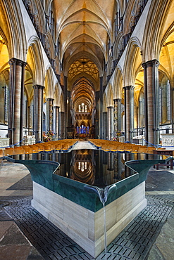 Looking down the nave and across the font in Salisbury Cathedral, Salisbury, Wiltshire, England, United Kingdom, Europe