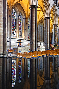 Mirrored reflections in the font of the aisle in Salisbury Cathedral, Salisbury, Wiltshire, England, United Kingdom, Europe