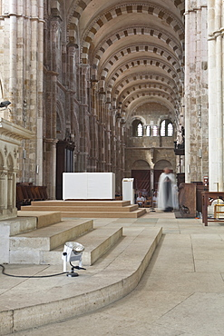 The interior of Saint Marie Madeleine abbey in Vezelay, Yonne, Burgundy, France, Europe