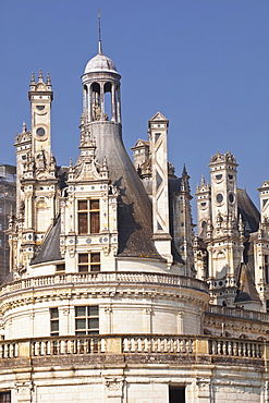 Detail shot of the roof of the Chateau de Chambord, UNESCO World Heritage Site, Loir-et-Cher, Centre, France, Europe