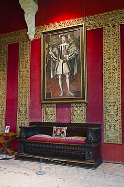 A painting of Francois 1er hanging in the Chateau de Chambord, UNESCO World Heritage Site, Loir-et-Cher, Centre, France, Europe