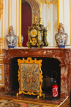 An ornate fireplace in Chateau Chambord, UNESCO World Heritage Site, Loir-et-Cher, Centre, France, Europe
