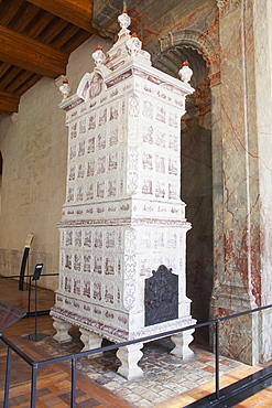 A ceramic stove ordered by Marshall de Saxe in the 18th century to keep the lower rooms warm in the Chateau de Chambord, UNESCO World Heritage Site, Loir-et-Cher, Centre, France, Europe